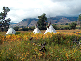 Teepees at The Sacajawea Cultural and Interpretive center