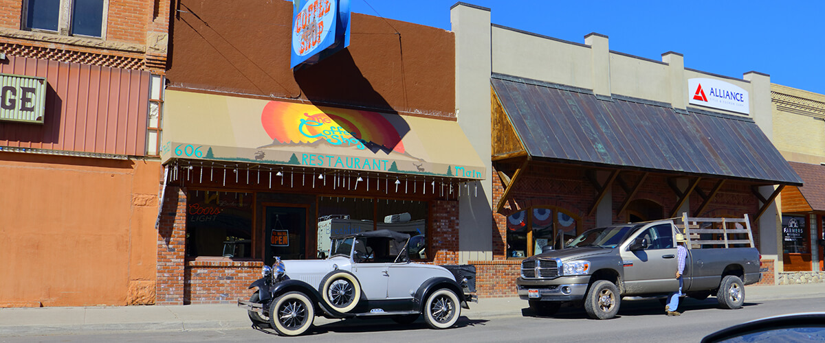 Model T cars in Downtown Idaho