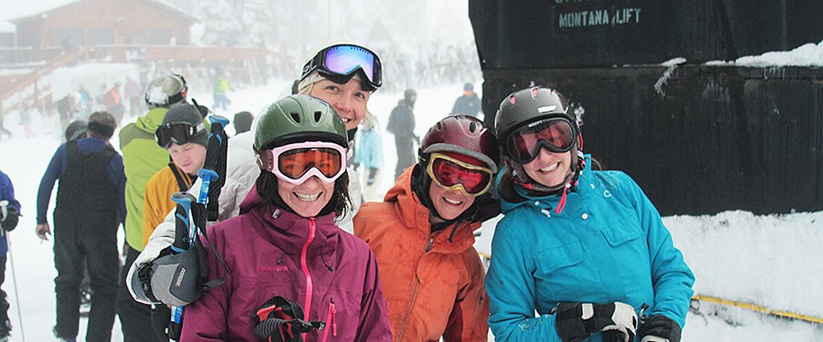 skiers posing at life