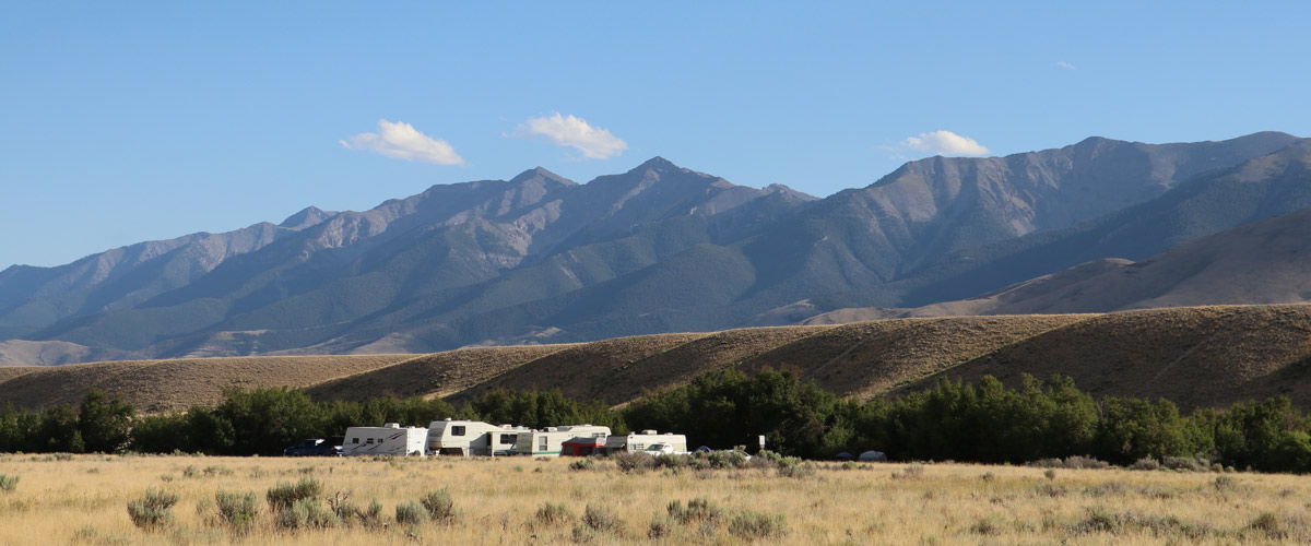 RV camping under Lemhi mountain range