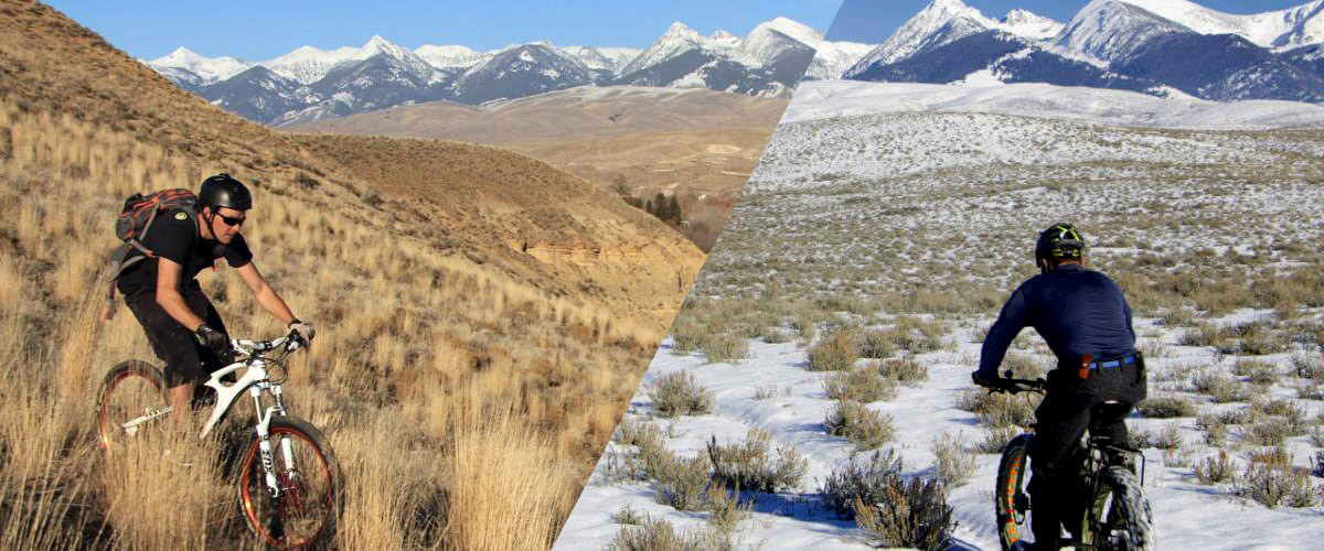 split image: mountain biking in summer and winter