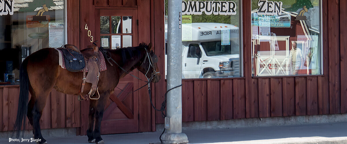 Horse parking in downtown Salmon, Idaho