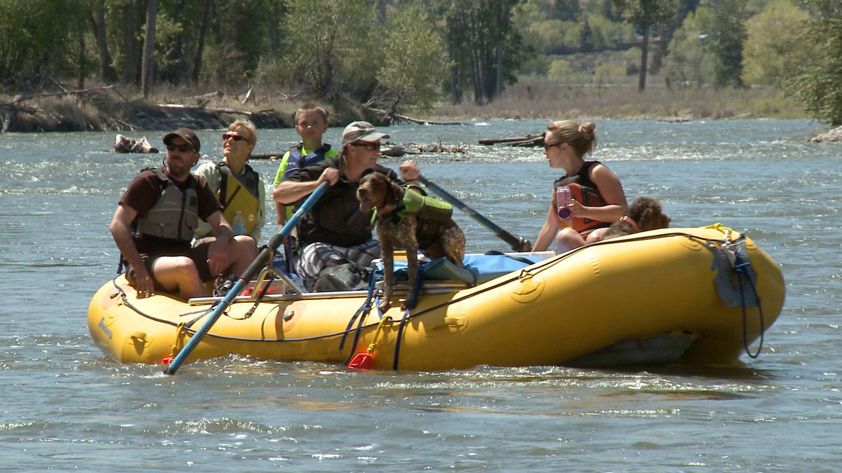 image: rafting the Salmon River with doggie