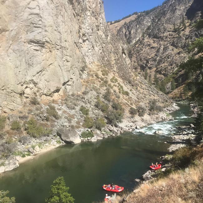 watching a raft group run Cove Creek rapid