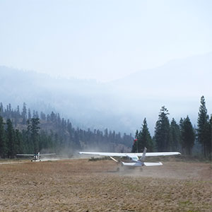 Flying in to Middle Fork River Trail